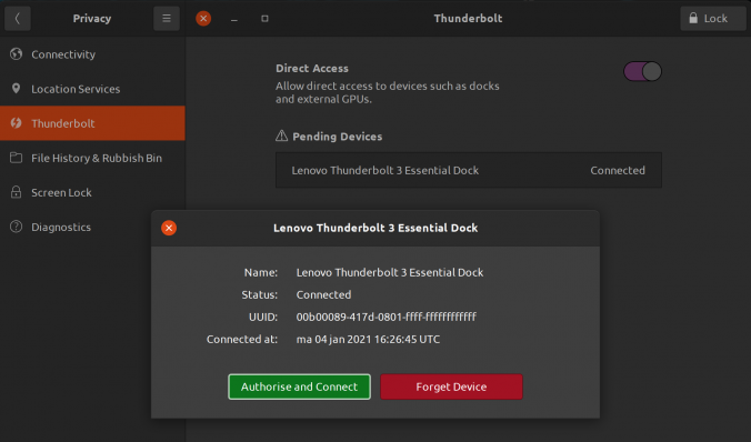 Ubuntu Thunderbolt settings